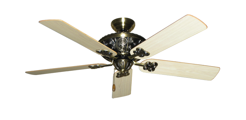 """Picture of Monarch Antique Brass with 52"""" Bleached Oak Gloss Blades"""