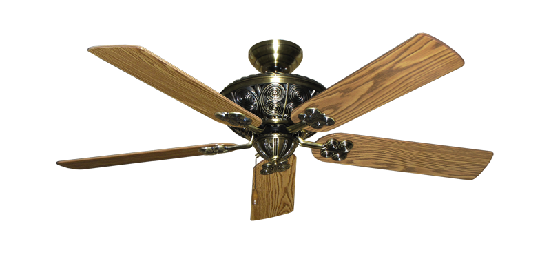 "Picture of Monarch Antique Brass with 52"" Oak Gloss Blades"