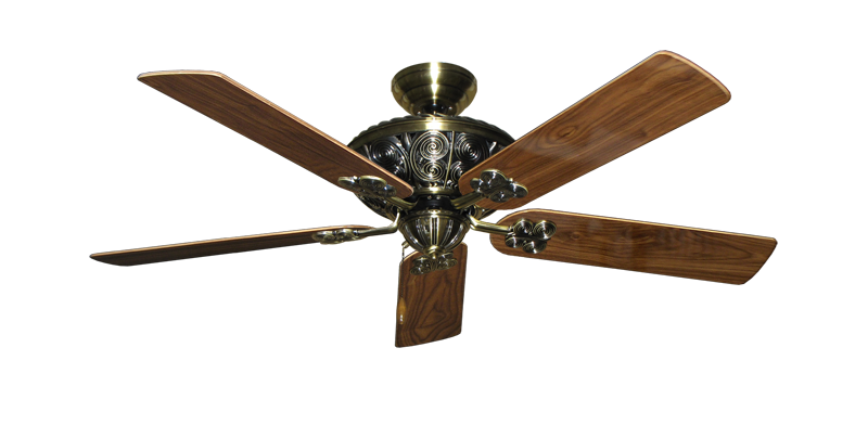 "Picture of Monarch Antique Brass with 52"" Walnut Gloss Blades"