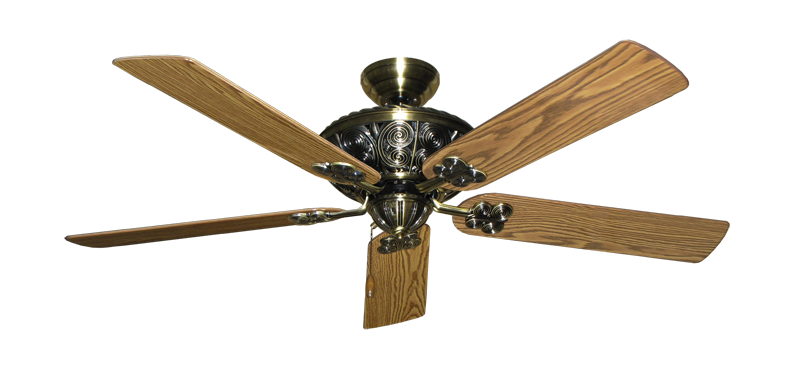 "Picture of Monarch Antique Brass with 56"" Oak Gloss Blades"
