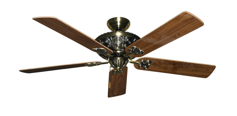 """Picture of Monarch Antique Brass with 56"""" Walnut Gloss Blades"""