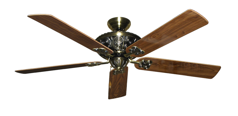 "Picture of Monarch Antique Brass with 60"" Walnut Gloss Blades"