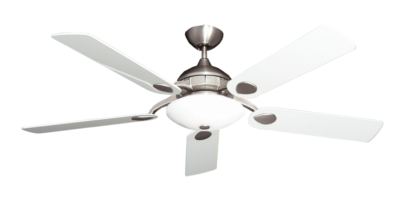 """Picture of Majestic Satin Steel with 52"""" Pure White Gloss Blades"""