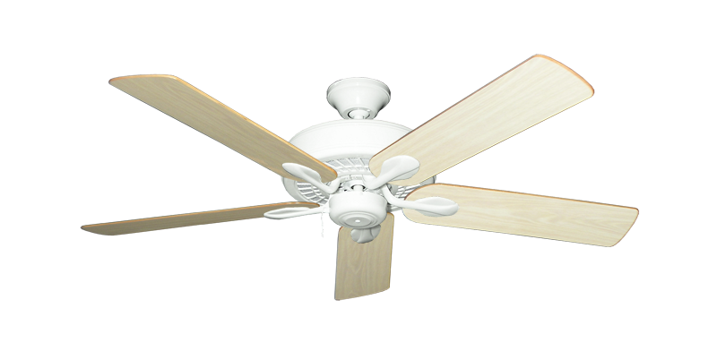 """Picture of Meridian Pure White with 52"""" Unfinished Oak Blades"""