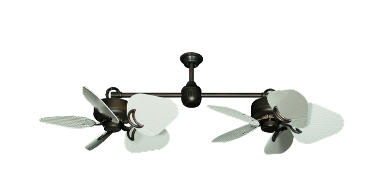 "Twin Star III Oil Rubbed Bronze with 35"" Leaf Pure White Blades"