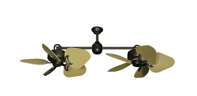 "Picture of Twin Star III Oil Rubbed Bronze with 35"" Leaf Tan Blades"