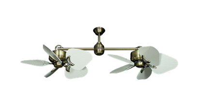 """Picture of Twin Star III Antique Brass with 35"""" Leaf Pure White Blades"""