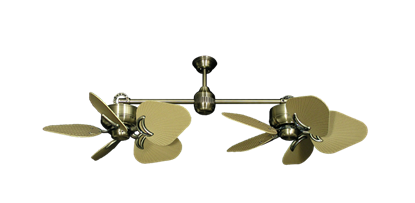 """Picture of Twin Star III Antique Brass with 35"""" Leaf Tan Blades"""