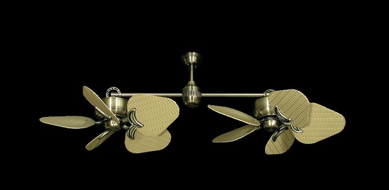 "Twin Star III Antique Brass with 35"" Wicker Tan Blades"