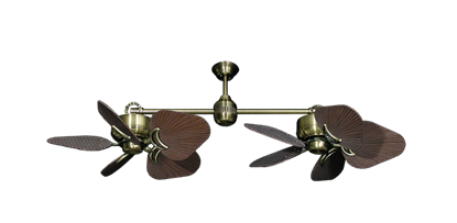 """Picture of Twin Star III Antique Brass with 35"""" Leaf Oil Rubbed Bronze Blades"""