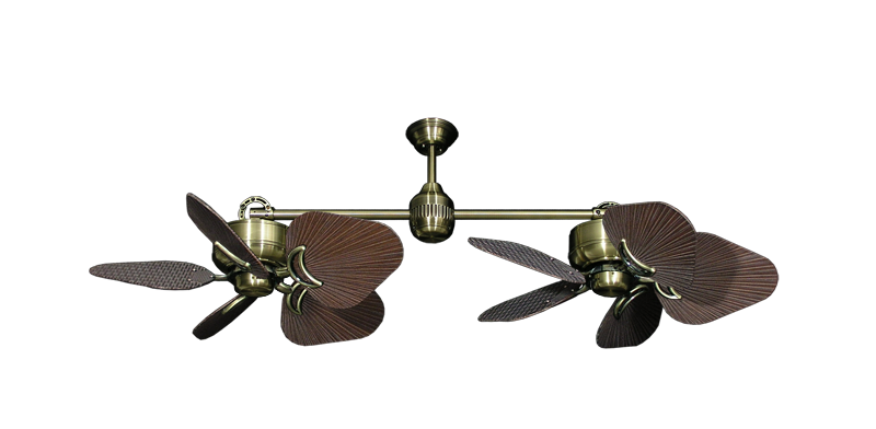 "Picture of Twin Star III Antique Brass with 35"" Leaf Oil Rubbed Bronze Blades"
