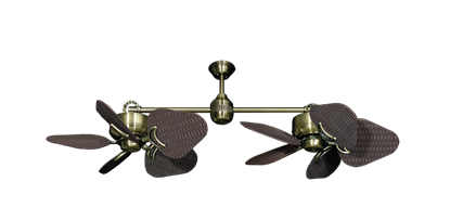 """Picture of Twin Star III Antique Brass with 35"""" Wicker Oil Rubbed Bronze Blades"""