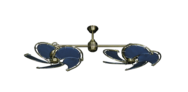 """Picture of Twin Star III Antique Brass with 30"""" Nautical Fabric Blue Blades"""