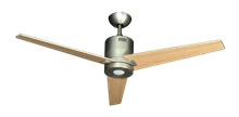 """Picture of 52"""" DC-3 Ceiling Fan with LED Light in Satin Steel"""