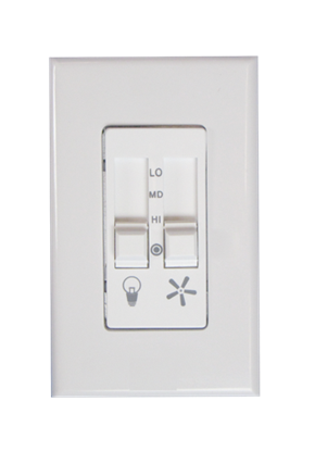 Picture of Control, 423L Dual Slide 3 Speed Fan and Light Control, White