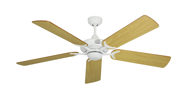 "Picture of Coastal Air Pure White with 52"" Honey Oak Blades"