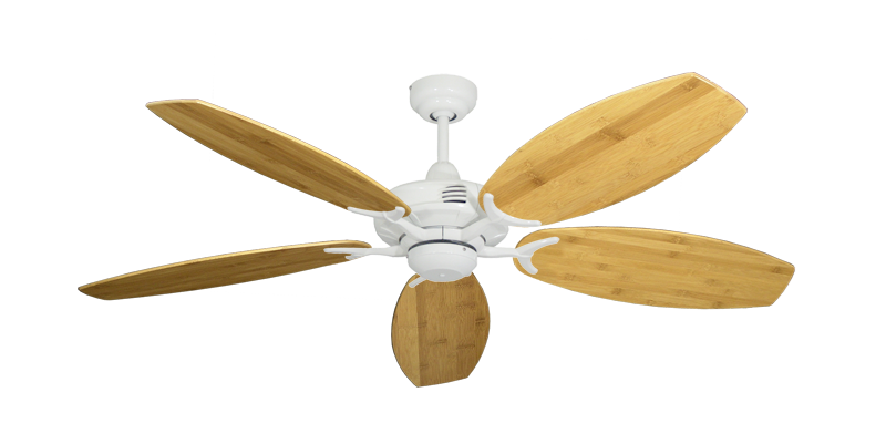 """Picture of Coastal Air Pure White with 52"""" Oar Bamboo Brown Blades"""