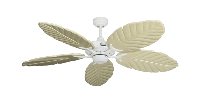 "Picture of Coastal Air Pure White with 52"" Series 125 Arbor Whitewash Blades"