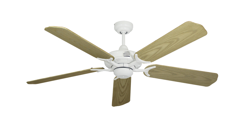 """Coastal Air Pure White with 52"""" Outdoor Bleached Oak Blades"""