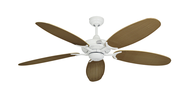 """Coastal Air Pure White with 52"""" Outdoor Wicker Tan Blades"""