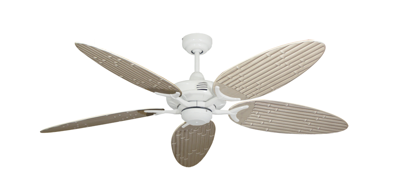 """Coastal Air Pure White with 52"""" Outdoor Bamboo Distressed White Blades"""