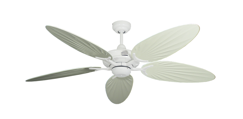 """Picture of Coastal Air Pure White with 52"""" Outdoor Palm Antique White Blades"""