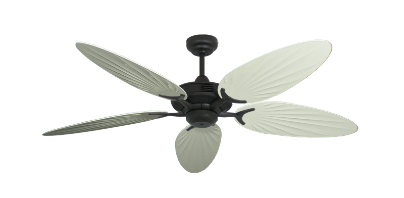 """Coastal Air Oil Rubbed Bronze with 52"""" Outdoor Palm Antique White Blades"""