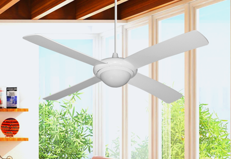 "Picture of 52"" Luna Indoor Outdoor Ceiling Fan and Light in Pure White with Remote Control"