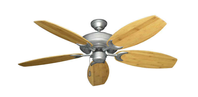 """Picture of Raindance Brushed Nickel BN-1 with 52"""" Oar Bamboo Brown Blades"""