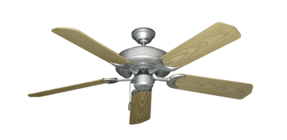 """Picture of Raindance Brushed Nickel BN-1 with 52"""" Outdoor Bleached Oak Blades"""