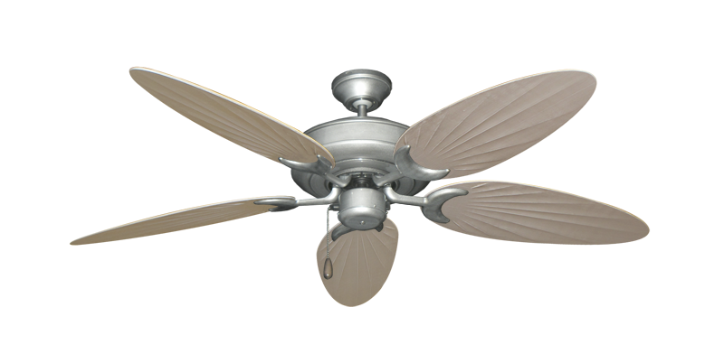 "Picture of Raindance Brushed Nickel BN-1 with 52"" Outdoor Palm Distressed White Blades"