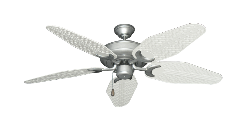 "Picture of Raindance Brushed Nickel BN-1 with 52"" Outdoor Weave Pure White Blades"