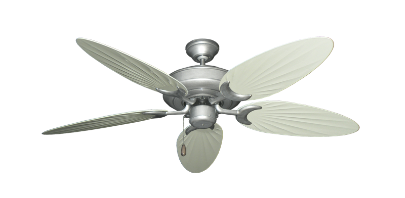 """Picture of Raindance Brushed Nickel BN-1 with 52"""" Outdoor Palm Antique White Blades"""