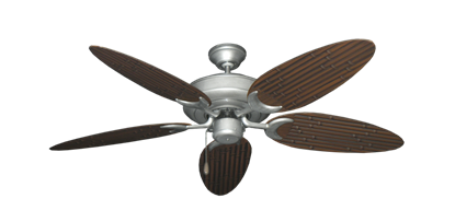 """Picture of Raindance Brushed Nickel BN-1 with 52"""" Outdoor Bamboo Oil Rubbed Bronze Blades"""