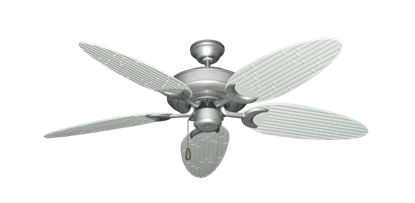 """Picture of Raindance Brushed Nickel BN-1 with 52"""" Outdoor Bamboo Pure White Blades"""
