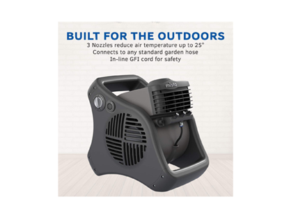 outdoor misting fan with product description