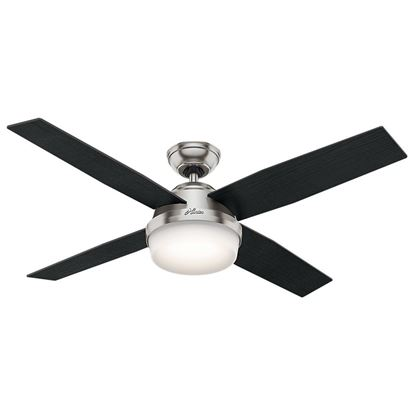 "Hunter  52"" Dempsey with Light Brushed Nickel Ceiling Fan with Light with Handheld Remote, Model 59216"