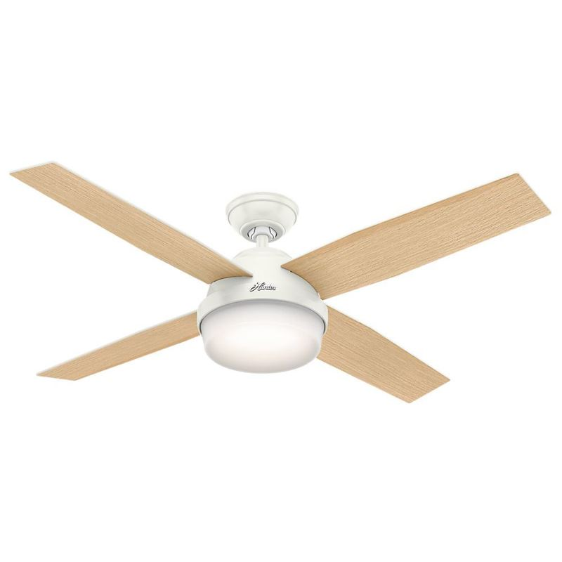 """Picture of Hunter  52"""" Dempsey with Light Fresh White Ceiling Fan with Light with Handheld Remote, Model 59217"""