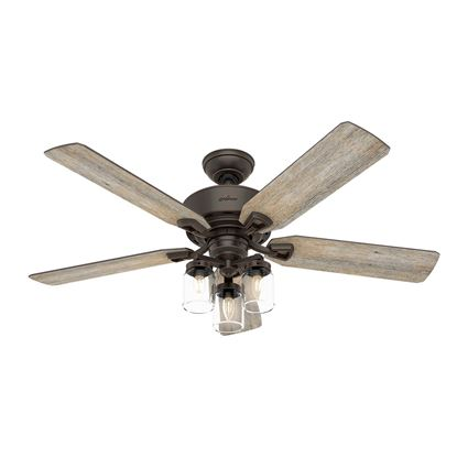 "Picture of Hunter  52"" Devon Park Onyx Bengal Ceiling Fan with Light with Integrated Control System - Handheld, Model 50235"