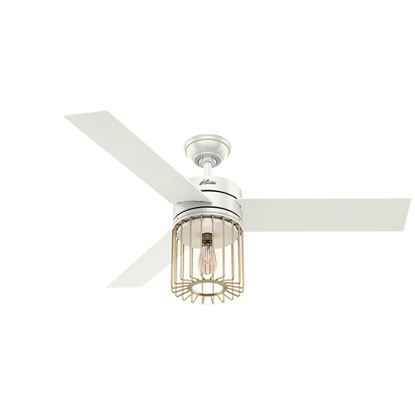 "Hunter 52"" Ronan Fresh White Ceiling Fan with Light with Handheld Remote, Model 59238"
