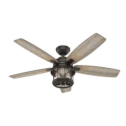"Picture of Hunter  52"" Coral Bay Noble Bronze Ceiling Fan with Light with Integrated Control System - Handheld, Model 59420"