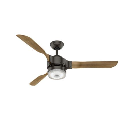 "Picture of Hunter WiFi Enabled HomeKit Compatible  54"" Apache Noble Bronze Ceiling Fan with Light with Integrated Control System - Handheld, Model 59226"