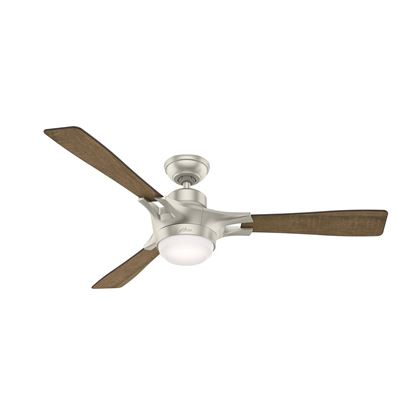"Hunter WiFi Enabled HomeKit Compatible  54"" Signal Matte Nickel Ceiling Fan with Light with Integrated Control System - Handheld, Model 59378"