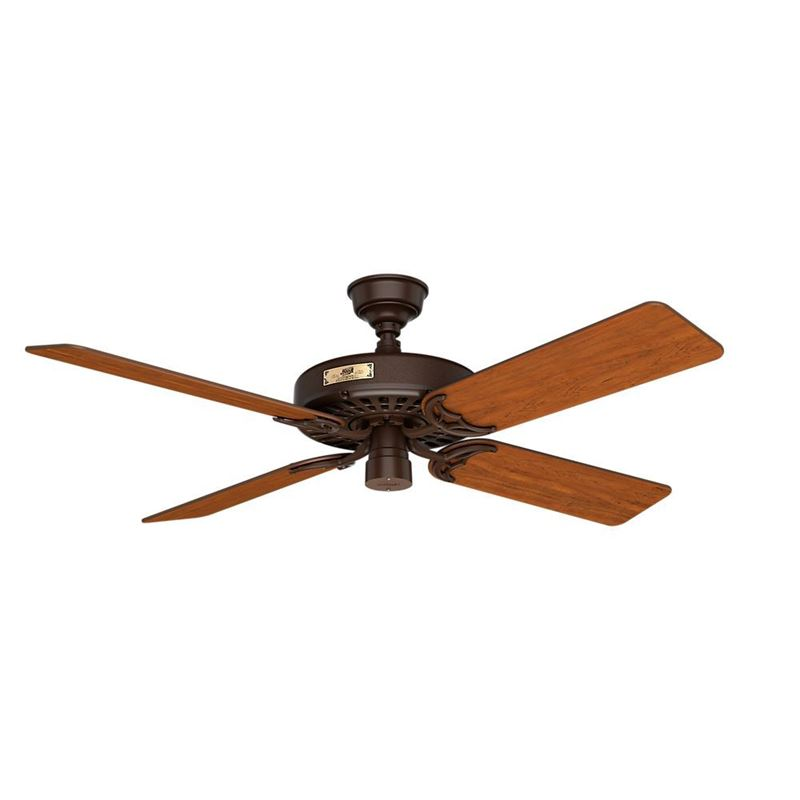 "Hunter  52"" Outdoor Orig Teak Blades 52 Chestnut Brown Ceiling Fan , Model 23847"