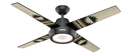 "Hunter 54"" Pendelton Spider Rock/Eagle Rock Matte Black Ceiling Fan with Light, Model 59389"