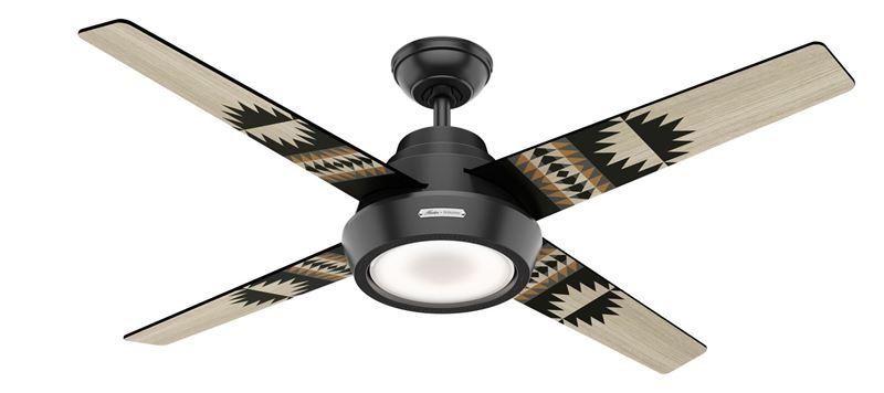"""Hunter 54"""" Pendelton Spider Rock/Eagle Rock Matte Black Ceiling Fan with Light, Model 59389"""