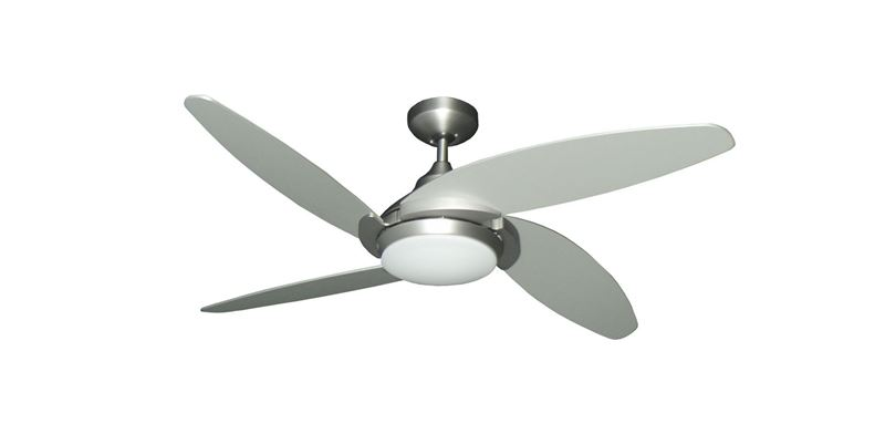"Tuscan 52"" Indoor Contemporary Satin Steel Ceiling Fan with LED Light and Remote"