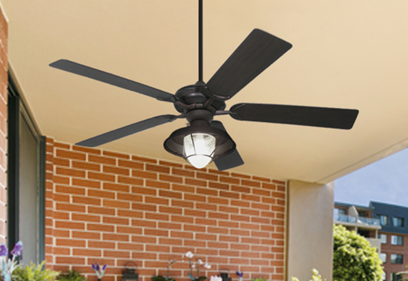 """Coastal Air Oil Rubbed Bronze WIFI with 52"""" Outdoor Oil Rubbed Bronze Blades w/ #155 Outdoor Lantern Light and Remote"""