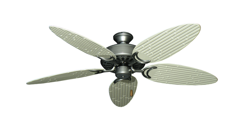 """Dixie Belle Brushed Nickel with 52"""" Outdoor Bamboo Antique White Blades"""