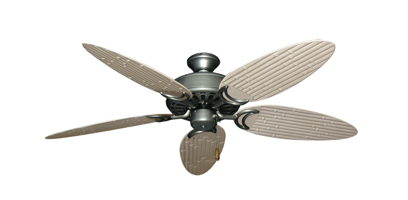"""Picture of Dixie Belle Brushed Nickel with 52"""" Outdoor Bamboo Distressed White Blades"""